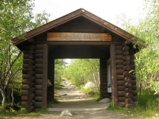 Wooden arch at northernmost Kungsleden trailhead in Abisko